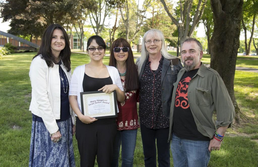 Dr. Debra Michaels (Dir, Women's & Gender Studies), Miranda Rezza, Dr. Gordene O. MacKenzie (Chair, WGS), Nancy Nangeroni, Dr. Luis de Viguera Erkiaga Saenz (dir Social Justice)
