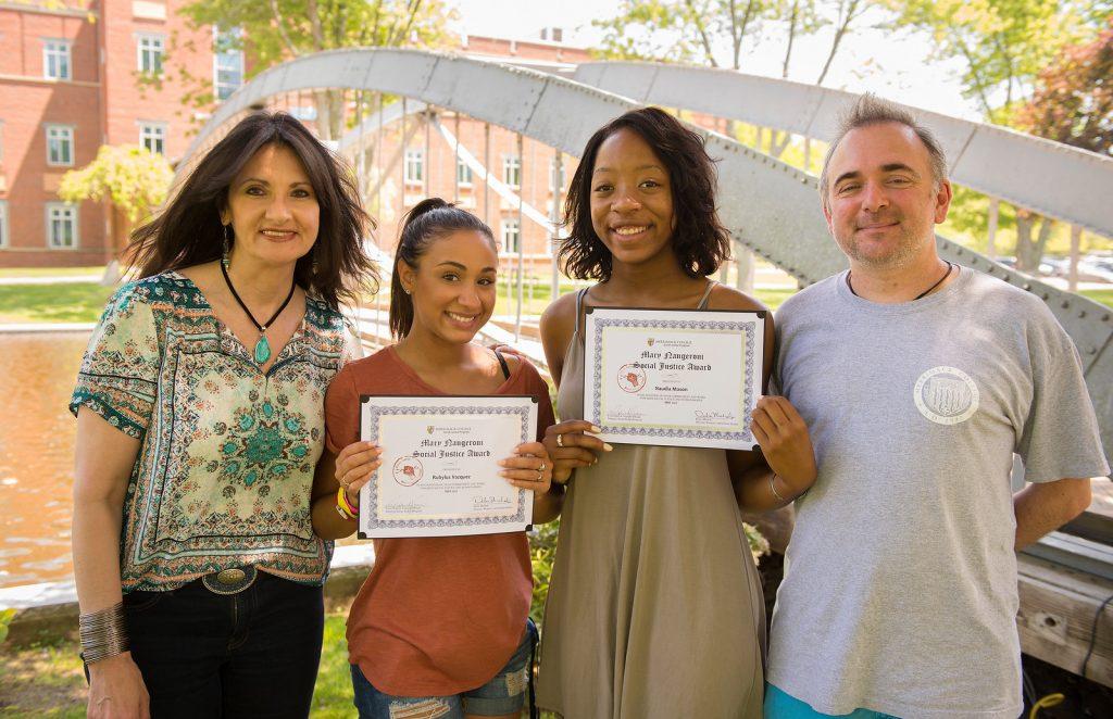 Dr. Debra Michaels (Dir, Women's & Gender Studies), Rubylus Vazquez (2017 MNSJA recipient), Naudia Mason (2017 MNSJA recipient), Dr. Luis de Viguera Erkiaga Saenz (dir Social Justice)